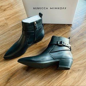 Rebecca Minkoff kichi black leather pointed boots